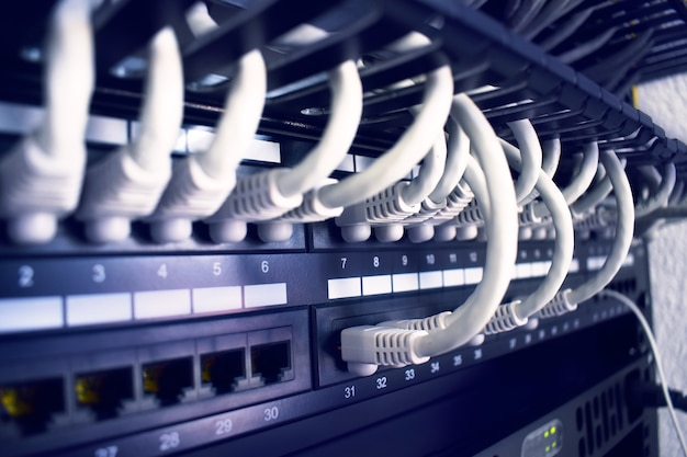 Rack with servers, networks and telecommunications. network lan Premium Photo