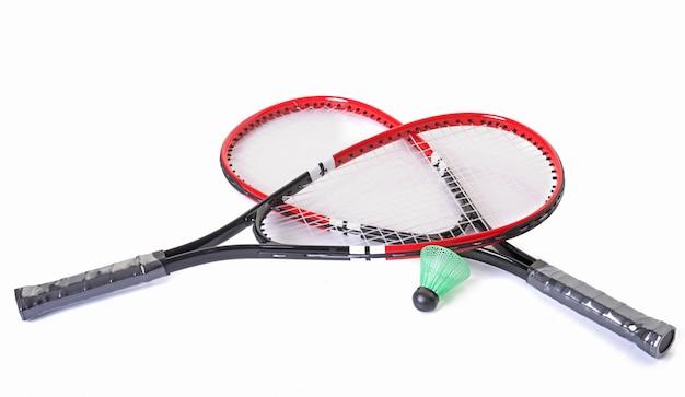 Racket and shuttlecock of badminton Premium Photo