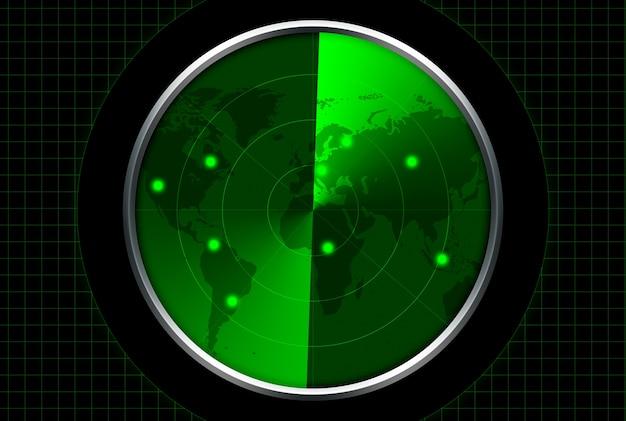 緑表示のレーダー。ターゲットはレーダーマップに表示されます。 Premium写真