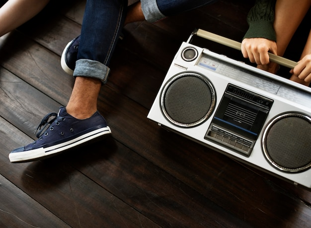 Radio music friends unity style teens casual concept Premium Photo