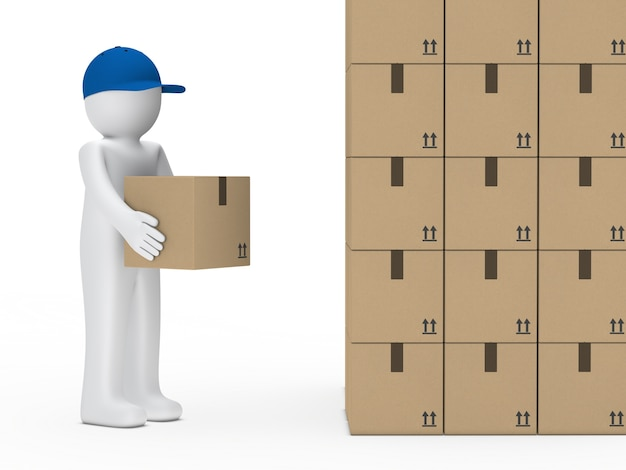 Rag doll looking at a mountain of boxes Free Photo
