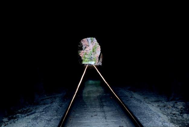Tunnel ferroviario buio dentro che guarda fuori nella luce del giorno. binari ferroviari che scorrono in lontananza attraverso l'apertura del tunnel. boschi e alberi. Foto Gratuite