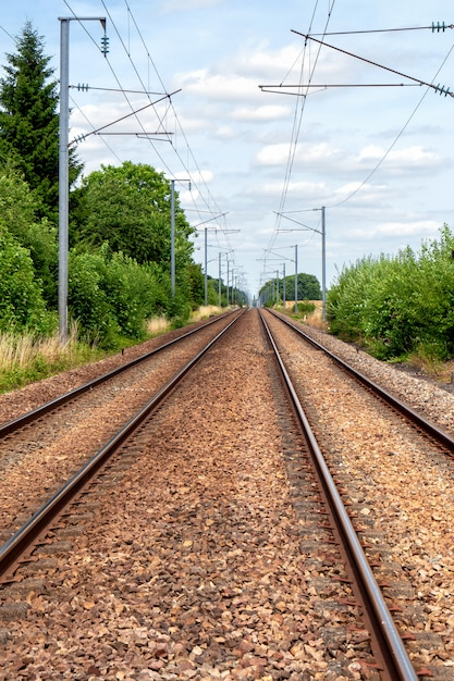 Railway line in the french countryside Premium Photo