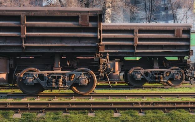 Railway station with freight wagons Premium Photo