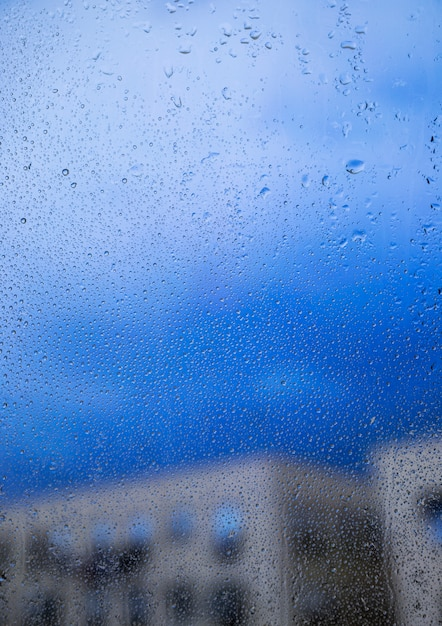Rain effect on urban background Free Photo
