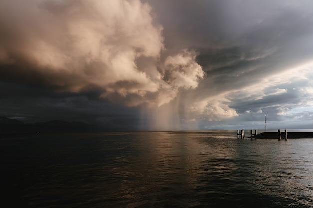 Rain on lake leman Premium Photo