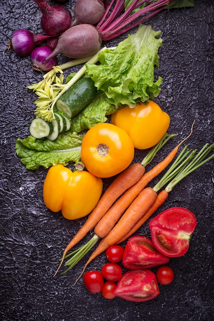 Rainbow colored vegetables. healthy food concept. top view Premium Photo