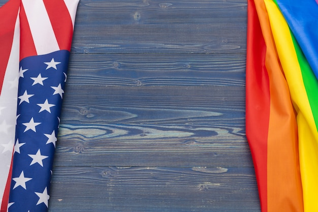 Rainbow flag of pride and usa flag Premium Photo