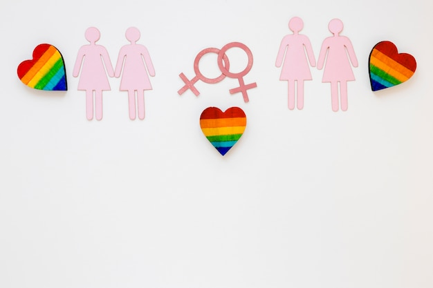 Rainbow hearts with lesbian couples icons Free Photo