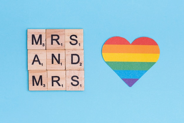 Rainbow lgbt heart and mrs letters Free Photo