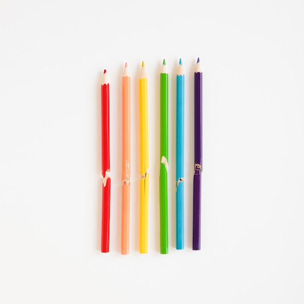 Rainbow made of colorful pencils Free Photo