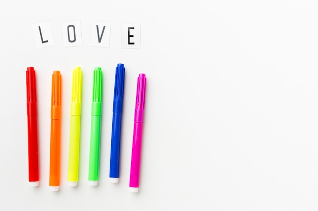 Rainbow markers for pride love Free Photo
