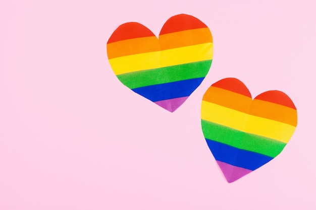 Rainbow paper heart on paper top view Premium Photo