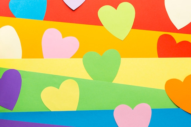 Rainbow pride flag and heart post-it notes Free Photo