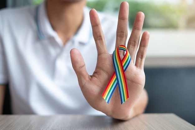 Rainbow ribbon lgbtq for lesbian, gay, bisexual, transgender and queer Premium Photo