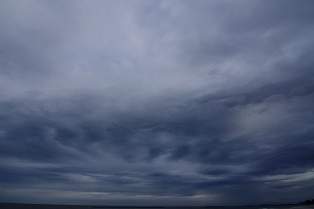 Rainstorm a weather condition with strong wind and heavy rain are forming in the ocean. Premium Photo