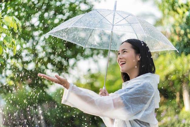 Rainy day asian woman wearing a raincoat outdoors Premium Photo