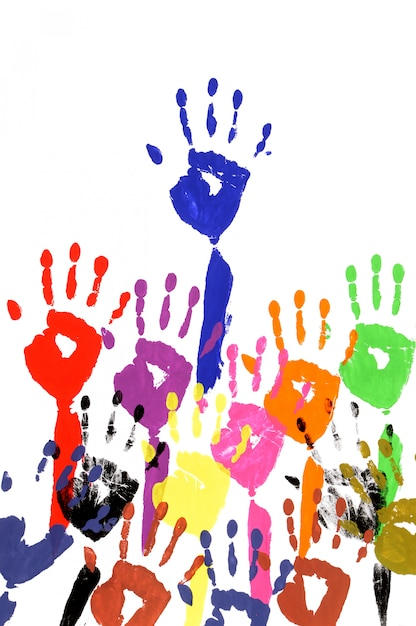 Raised hands in acrylic paint Free Photo