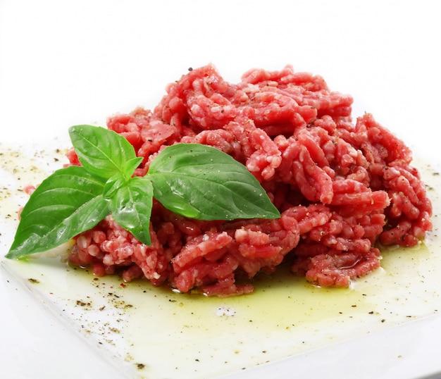Raw beef ready for tartar Premium Photo