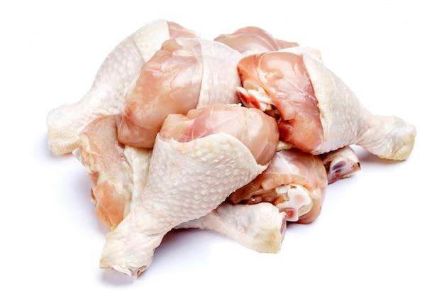 고립 된 흰색에 생 닭 다리 프리미엄 사진