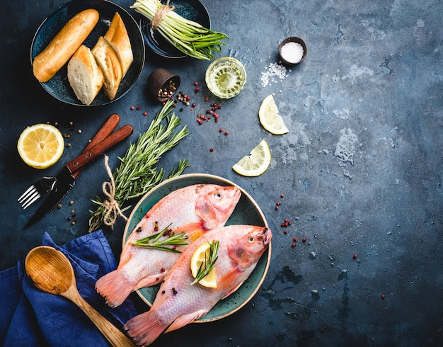 Raw fish and ingredients Premium Photo