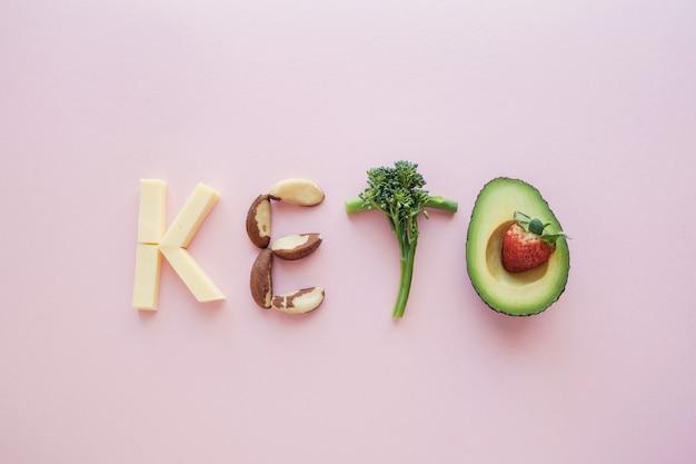 Raw food forming word keto Premium Photo