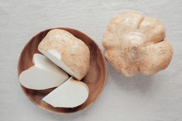Raw jicama, mexican turnip, ketogenic food Premium Photo