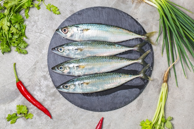 Raw mackerel with and spices Free Photo