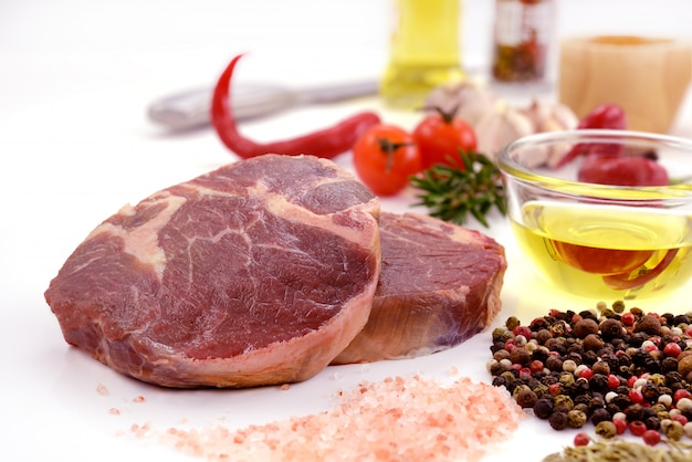 Raw meat, beef steak isolated on white background (tenderloin) Premium Photo