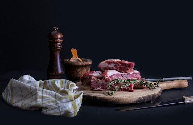 Raw pork ribs with a rosemary Premium Photo