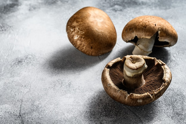Premium Photo Raw Portobello Mushrooms Space For Text