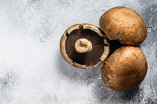 Premium Photo Raw Portobello Mushrooms Top View