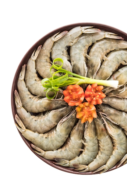 Raw prawn and shrimp in plate Free Photo