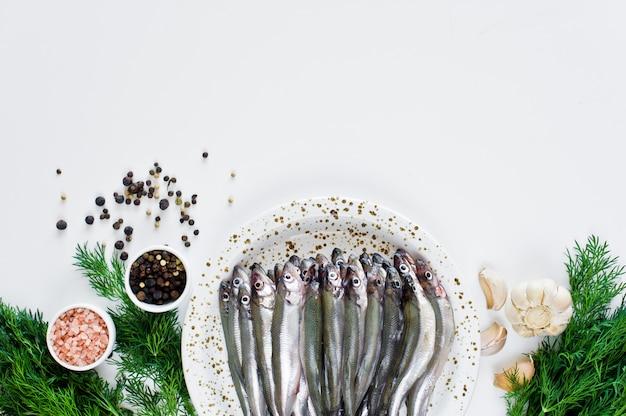 Raw salakas on a plate, dill, pink salt, pepper and garlic. Premium Photo