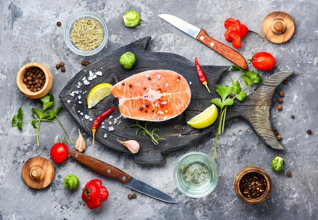Raw salmon steak Premium Photo