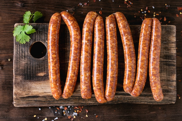 Raw sausages for bbq Premium Photo