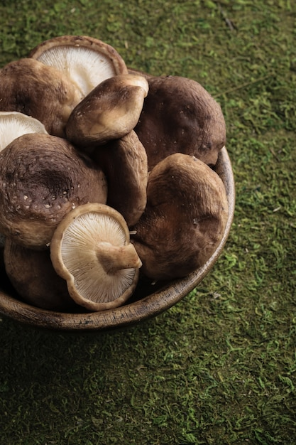 Raw shiitake mushrooms in a wooden bowl with green grass background. Premium Photo