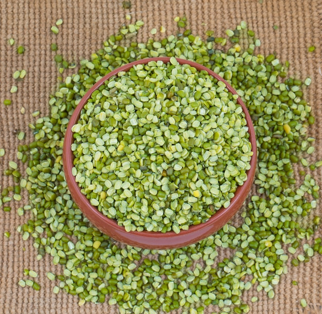 Raw split mung bean lentils Premium Photo