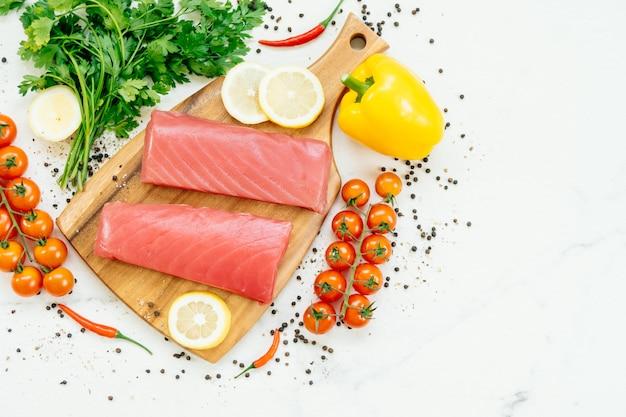 Raw tuna fish fillet meat Free Photo