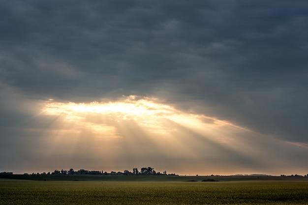 太陽光線が昇る間、光線は厚い雲を透過します。日没時にフィールドと劇的な暗い空 Premium写真