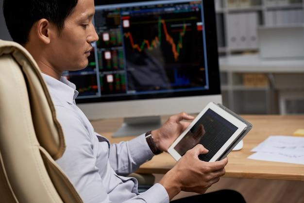 Reading stock market data Free Photo