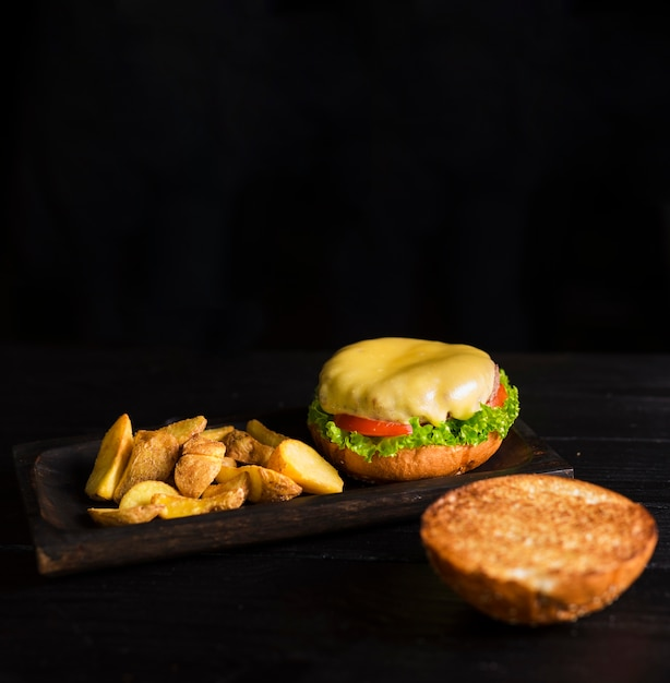 Ready to be served burger with french fries Free Photo