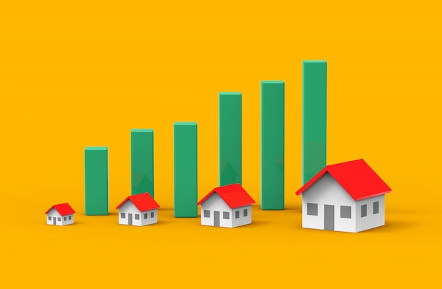 Real estate business growth with green graph. 3d illustration. Premium Photo