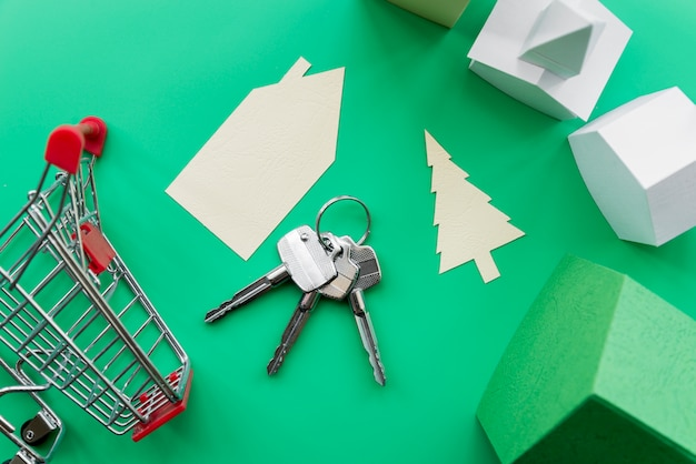 Real estate property made with houses with keys and shopping trolley on green background Free Photo