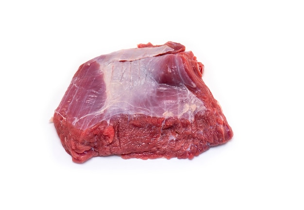 Real pieces of raw meat beef for soup isolated on white Premium Photo