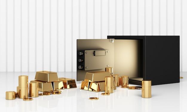 Реалистичная трехмерная иллюстрация открытого сейфа с золотыми слитками и монетой Premium Фотографии