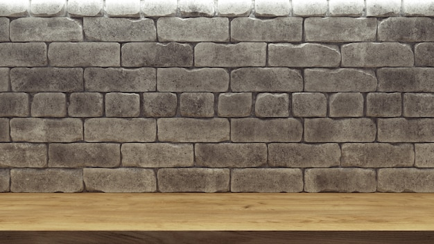 Realistic background with brick wall wooden shelf for decoration design. Premium Photo