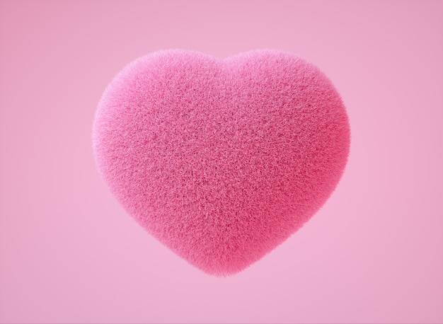 Реалистичная красочная 3d иллюстрация с нежно-розовым цветом пушистого сердца на светло-розовом фоне главное послание вокруг любви Premium Фотографии