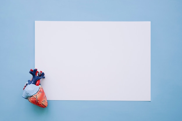 Realistic heart and white paper Free Photo