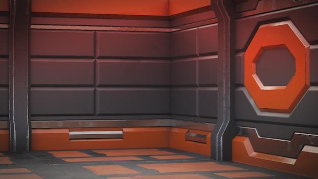 Realistic old spaceship sci-fi corridor , 3d render. Premium Photo
